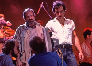 Brian DePalma and Bruce Springsteen at the filming of the video for Dancing in the Dark on 6/27/84 at the St. Paul Civic Center in St. Paul, Mn.
